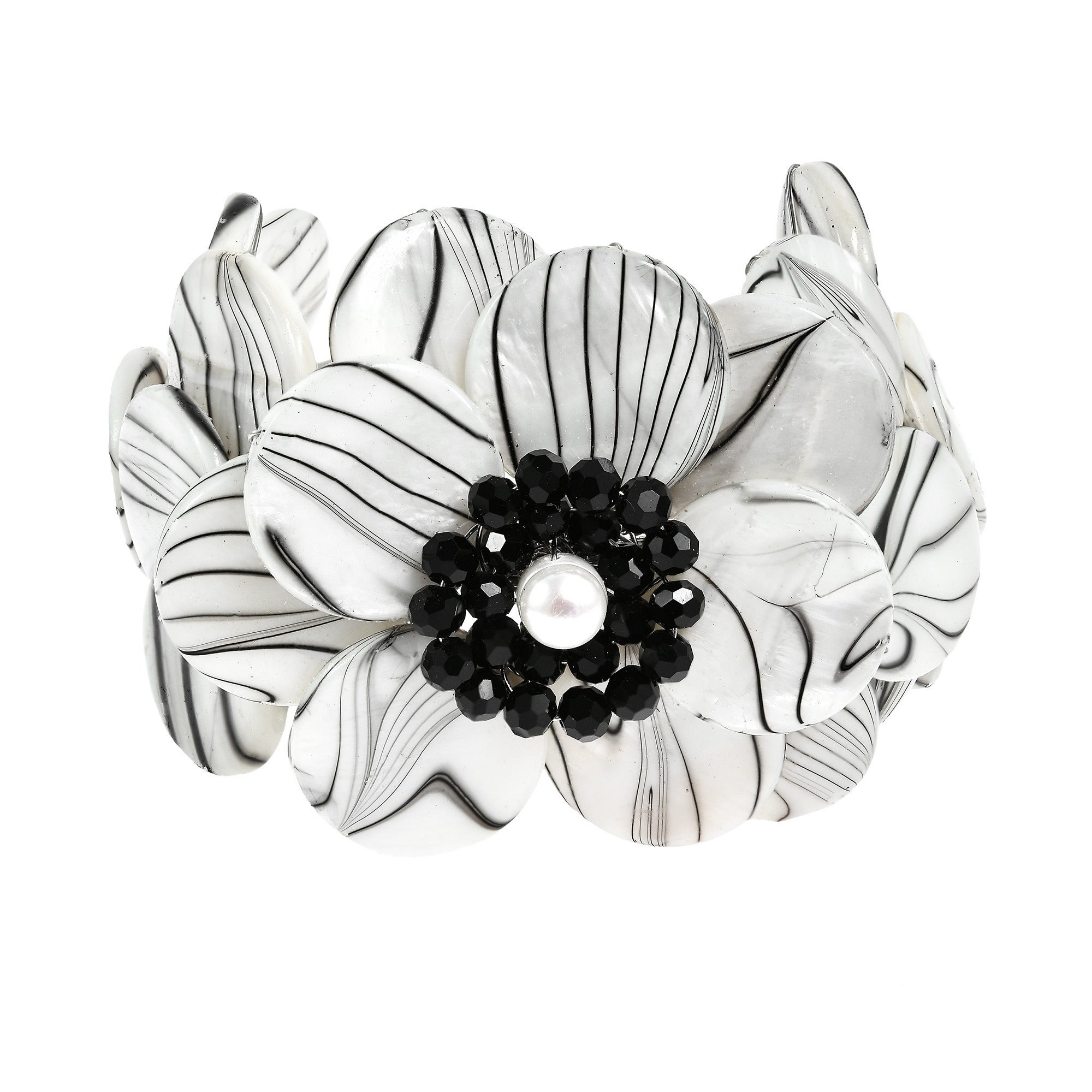Aeravida Handmade Mother of Pearl and Onyx Flower Cuff Br...