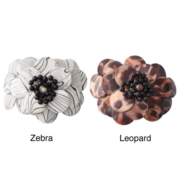 Zebra/ Leopard Mother of Pearl and Onyx Flower Cuff Bracelet (Thailand)
