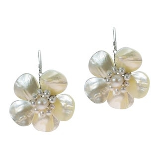 Handmade Sterling Silver Mother of Pearl Flower and Pearl Earrings
