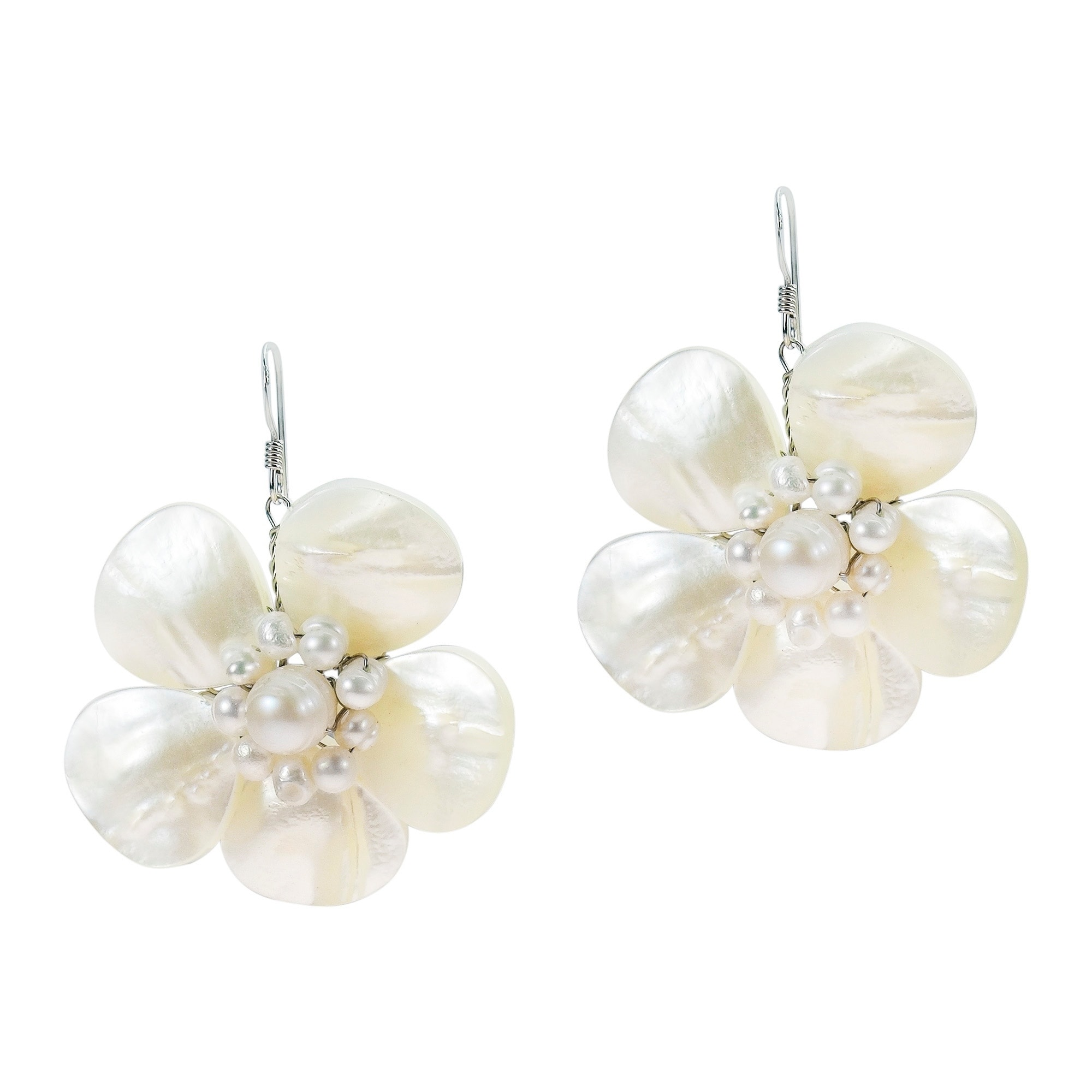 Handmade Sterling Silver Mother Of Pearl Flower And Earrings Thailand On Free Shipping Orders Over 45 5099212