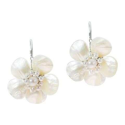 Handmade Delightful Organic White Shell Flower Sterling Silver Dangle Earrings (Thailand)
