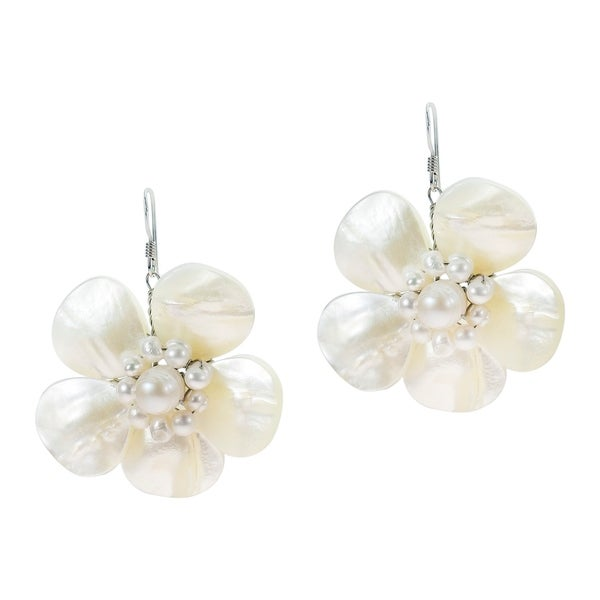 Handmade Sterling Silver Mother Of Pearl Flower And Earrings Thailand