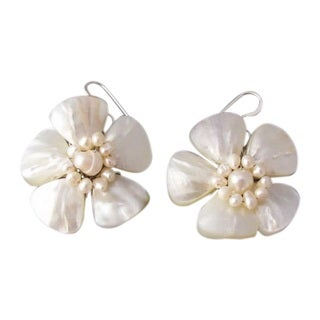 Handmade Sterling Silver Mother of Pearl Flower and Pearl Earrings (Thailand)