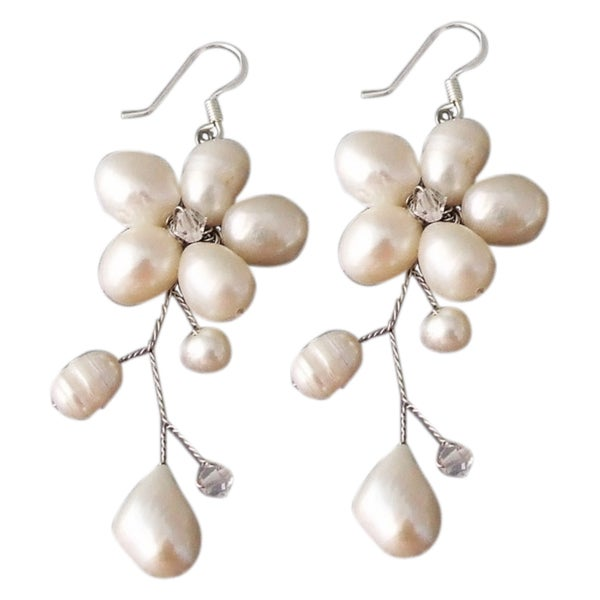 Handmade Sterling Silver 'Dreamy Nature' Pearl Earrings (Thailand)