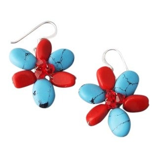 Modern Turquoise Synthetic Coral Flower 925 Silver Earrings (Thailand) - BLue
