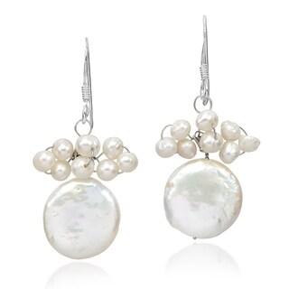 Handmade Beautiful White Pearl Cluster & White Disc Dangle Earrings (Thailand)