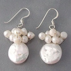 Handmade Sterling Silver White Pearl Disc Cluster Earrings (Thailand)