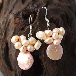 Handmade Sterling Silver Pink Pearl Disc Cluster Earrings (Thailand)