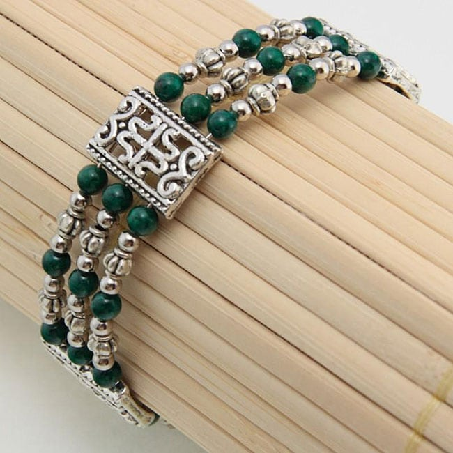 Handmade Tibetan Silver Malachite Bangle Bracelet (China)