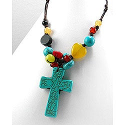 Handmade Turquoise and Multi-gemstone Cross Necklace (Thailand)