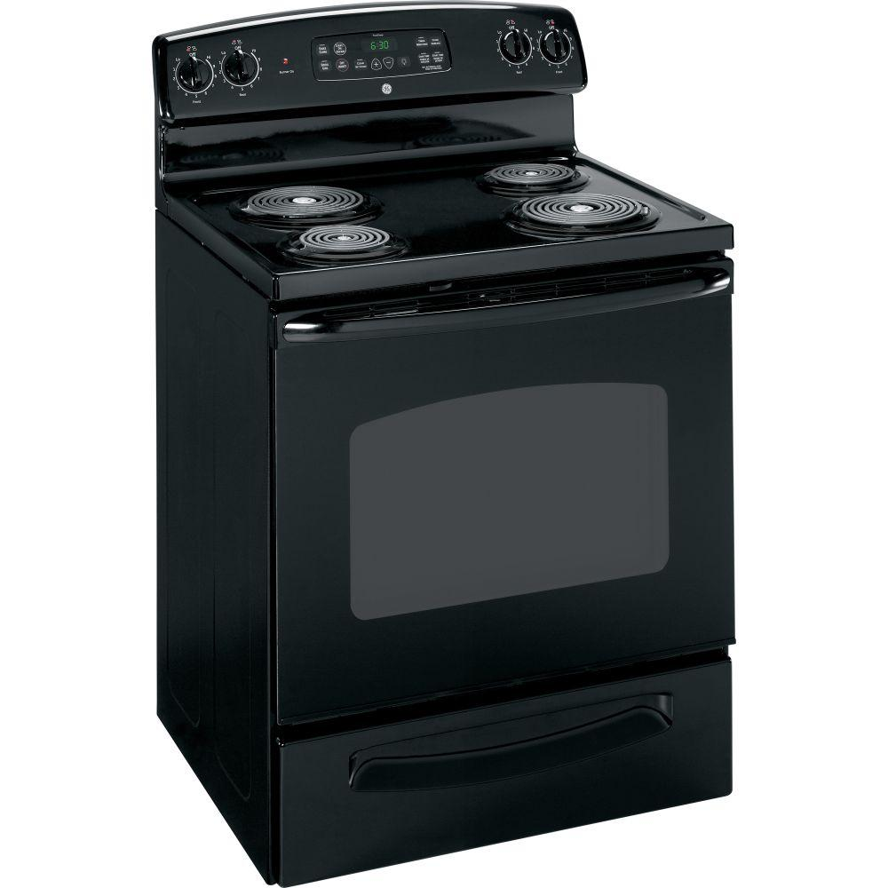 Electric Coil Stove ~ Ge quickclean inch black freestanding electric range