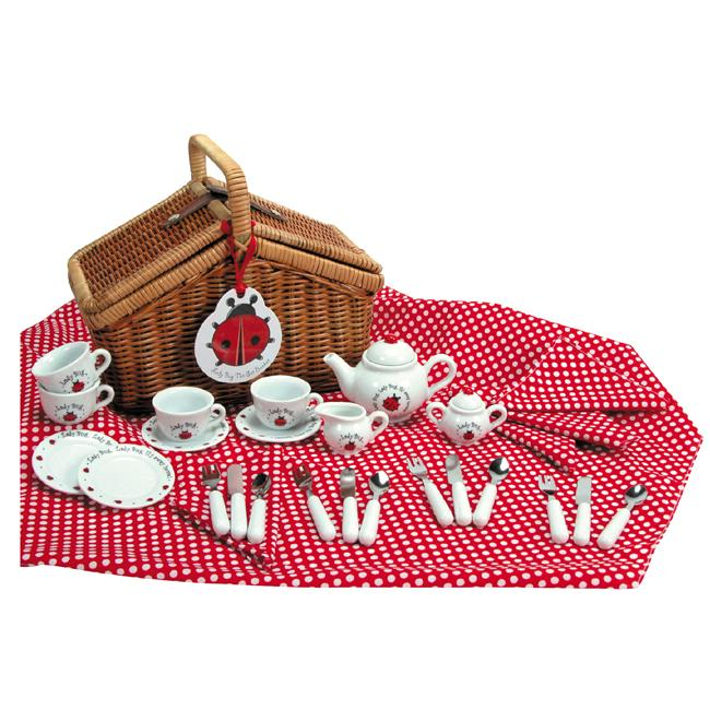 Ladybug Tea Set Basket, Red