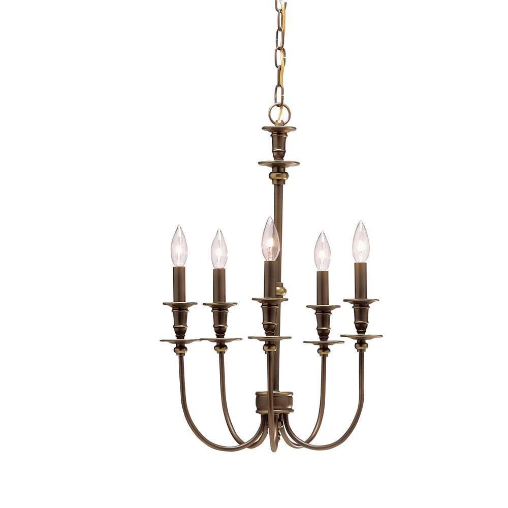Oiled Bronze Glass 5-light Independence Chandelier