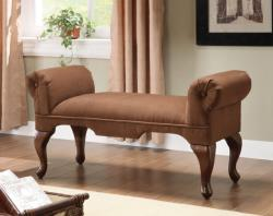 Brown Upholstered Hugo Bench