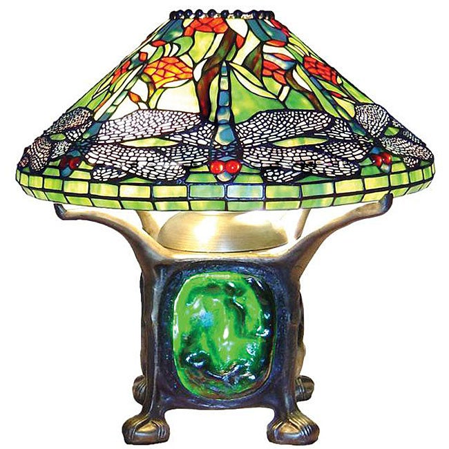 Attractive Tiffany Style Dragonfly Lighted Base Table Lamp