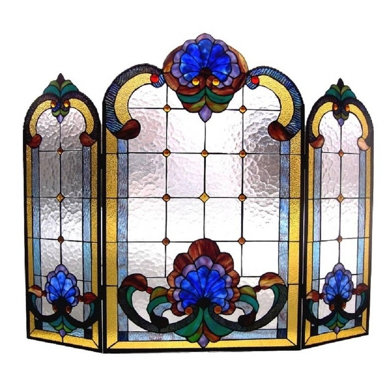 Victorian Stained Glass Fireplace Screen (Bronze Finish)