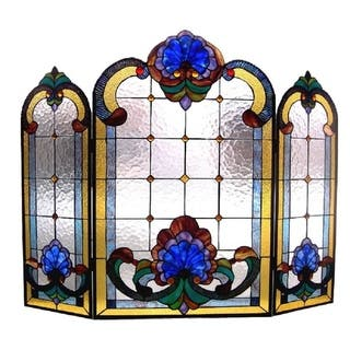Victorian Stained Glass Fireplace Screen|https://ak1.ostkcdn.com/images/products/5100912/P12954296.jpg?impolicy=medium