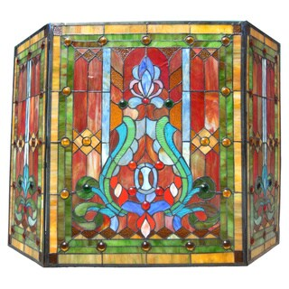 Victorian Stained Glass Fireplace Screen - N/A