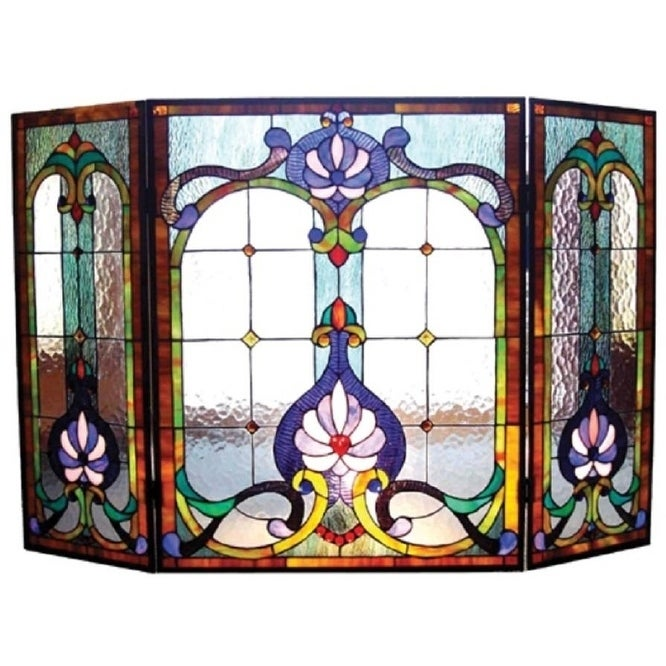 Chloe Victorian Stained Glass Fireplace Screen, Blue