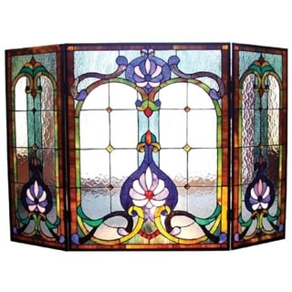 Completely new Victorian Stained Glass Fireplace Screen - N/A - Free Shipping  GH87