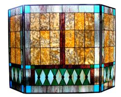 Mission Design Stained Glass Fireplace Screen - Thumbnail 1