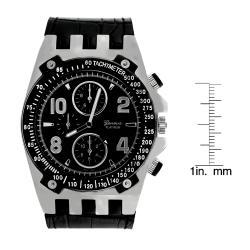 Geneva Platinum Men's Colored Stitch Leather Watch - Thumbnail 2