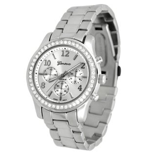 Geneva Platinum Women's CZ Accented Link Watch (2 options available)