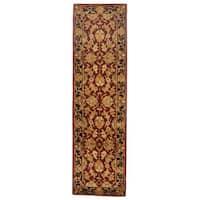 Safavieh Handmade Heritage Traditional Kashan Burgundy/ Black Wool Runner Rug - 2'3 x 16'