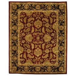 Safavieh Handmade Heritage Traditional Kashan Burgundy/ Black Wool Rug - 12' x 15'