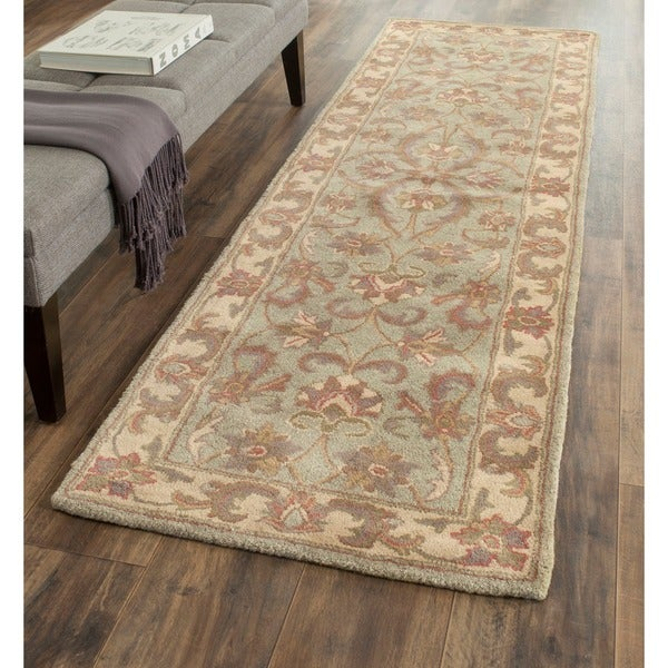 Safavieh Handmade Heritage Timeless Traditional Green/ Gold Wool Runner (2'3 x 16')