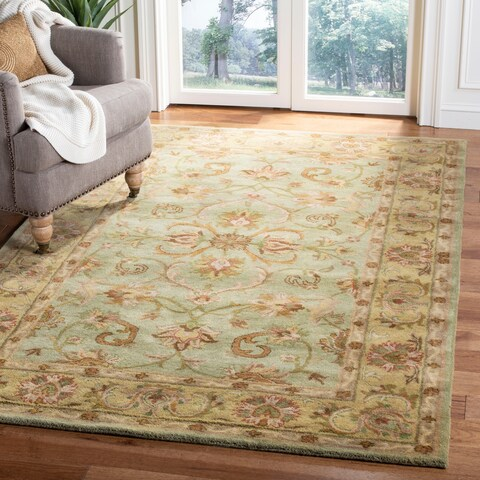 Safavieh Handmade Heritage Timeless Traditional Green/ Gold Wool Rug - 12' x 15'