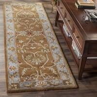 Safavieh Handmade Heritage Timeless Traditional Brown/ Blue Wool Runner Rug - 2'3 x 16'