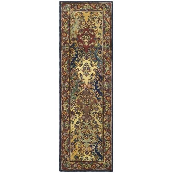 Safavieh Handmade Heritage Timeless Traditional Multicolor/ Burgundy Wool Runner (2'3 x 6')