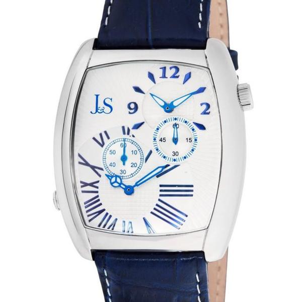 Joshua & Sons Men's Quartz Stainless Steel Dual Time Blue Strap Watch