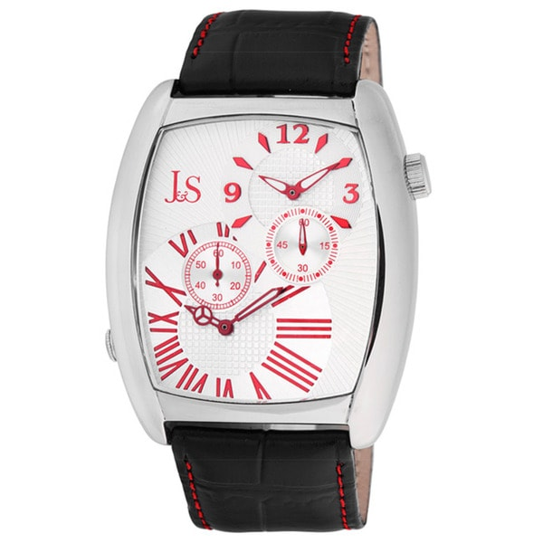 Joshua & Sons Men's Quartz Stainless-Steel Dual-Time Leather Red Strap Watch