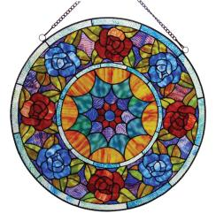 Chloe Tiffany-style Floral Hanging Glass Window Panel