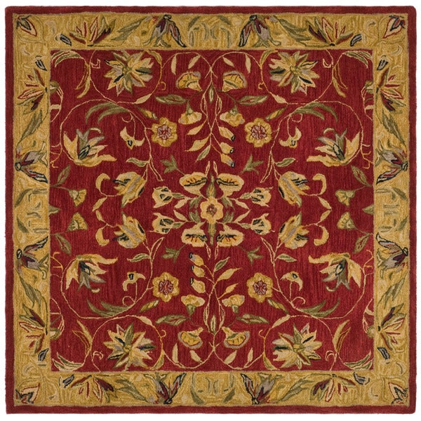 Safavieh Handmade Anatolia Oriental Burgundy/ Gold Hand-spun Wool Rug - 6' x 6' Square