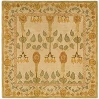 Safavieh Handmade Anatolia Oriental Traditional Ivory/ Green Hand-spun Wool Rug - 6' x 6' Square