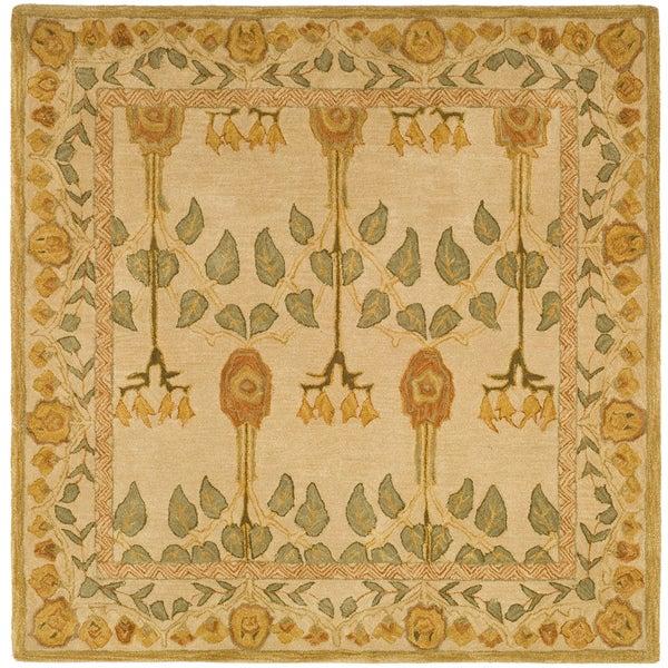 Safavieh Handmade Anatolia Oriental Traditional Ivory/ Green Hand-spun Wool Rug (8' Square) - 8' Square