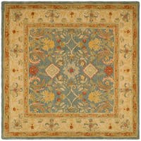 Safavieh Handmade Anatolia Oriental Legacy Light Blue Hand-spun Wool Rug - 8' x 8' Square