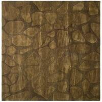 Safavieh Handmade Soho Pebbles Brown New Zealand Wool Rug - 6' X 6' Square