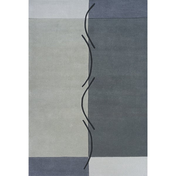 "Squiggles Grey Hand-Tufted Wool Rug (3'6"" x 5'6"")"