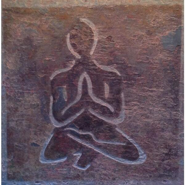 Yoga and Meditation Art 'Namaste' Healing Stone/ Marble Tile
