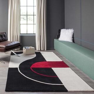 Metropolitan Black Hand-Tufted Wool Rug (5' x 8')