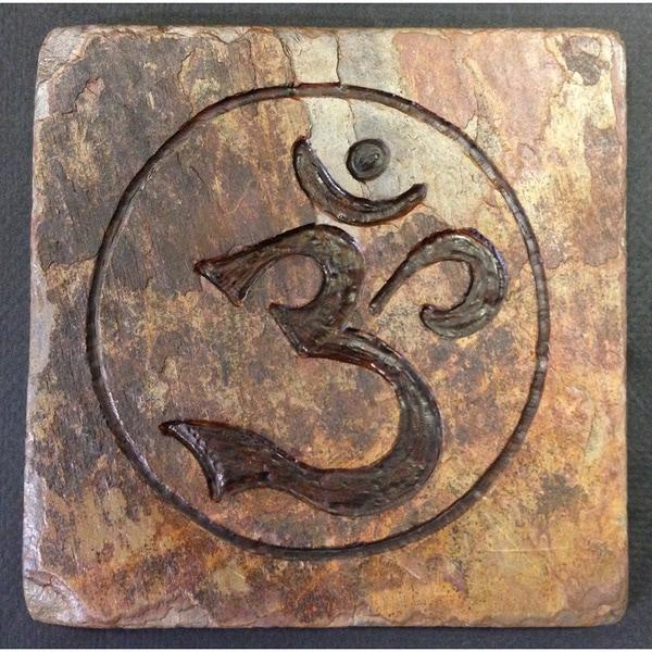 Yoga and Meditation 'Om' Circle for Eternity Inspirational Healing Stone