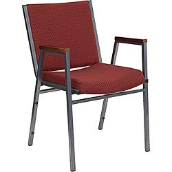 Heavy Duty Burgundy Patterned Upholstered Stack Chair with Arms (Case of 40)