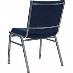 Heavy Duty Navy Patterned Upholstered Stack Chair (Case of 40) - Thumbnail 2