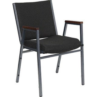 Heavy Duty Black Patterned Upholstered Stack Chair with Arms (Case of 40)