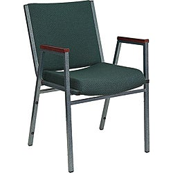 Heavy Duty Hunter Green Patterned Upholstered Stack Chair with Arms (Case of 40)
