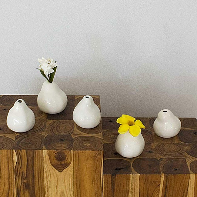 Set of 5 Ceramic White Pear-shaped Vases , Handmade in Thailand